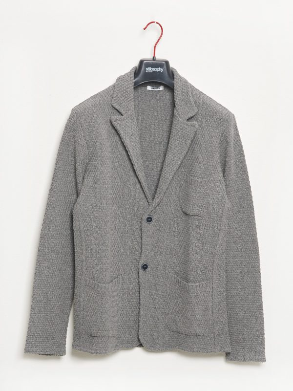 Gray single-breasted knitted jacket for Man - Stilosophy Industry